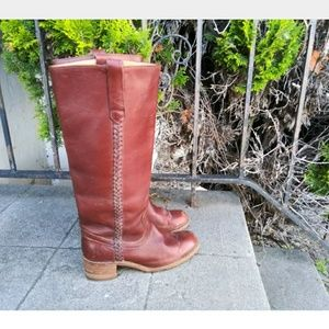 Frye Melissa Tall Riding Boots Cognac Brown Leathe
